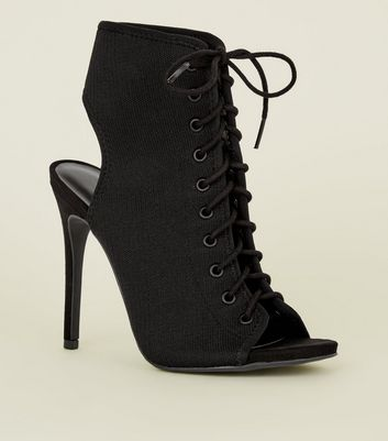 Black Stretch Knit Lace Up Peep Toes