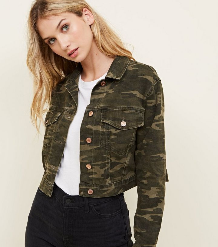 3da9d695591b0 Khaki Camo Cropped Denim Jacket | New Look