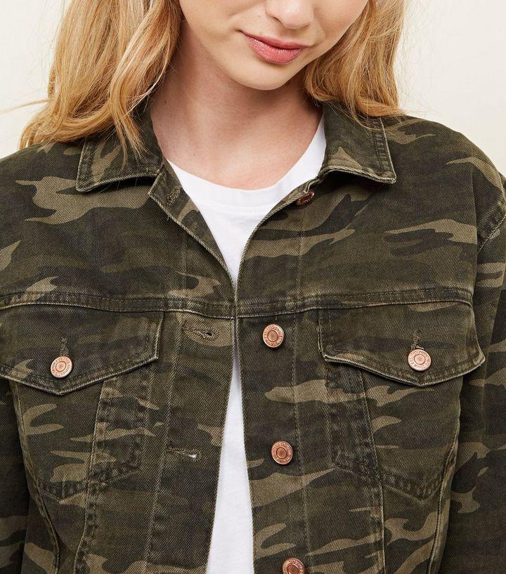 ddcde2efcbf9b Khaki Camo Cropped Denim Jacket | New Look