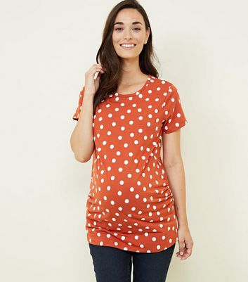 Maternity Orange Polka Dot T-Shirt