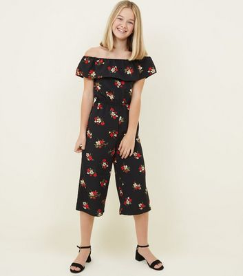 Girls Black Floral Frill Bardot Jumpsuit