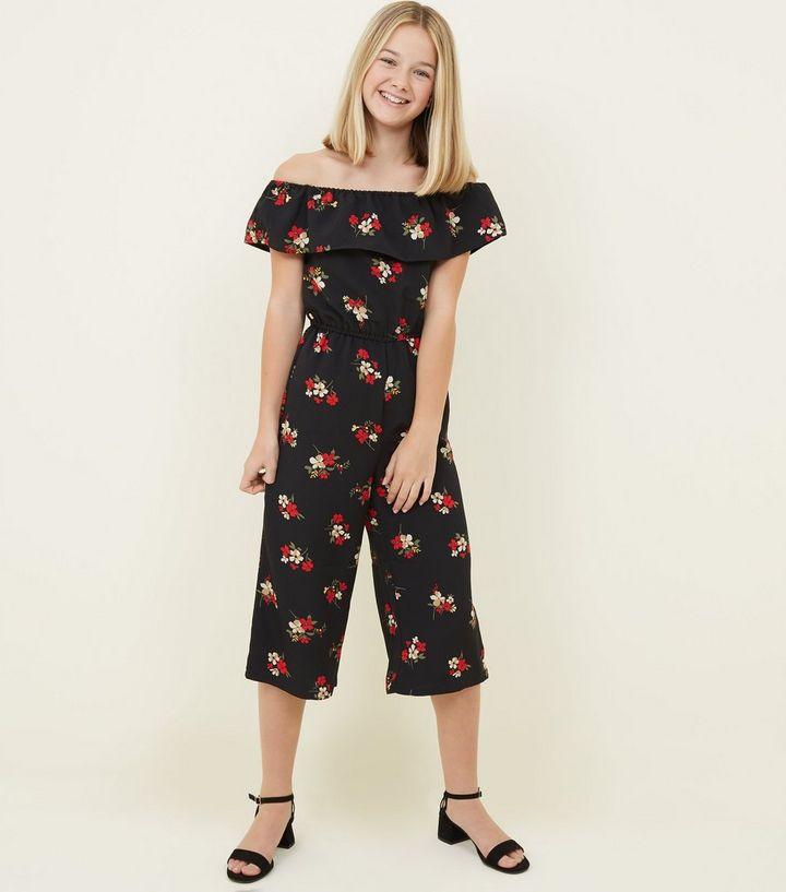 dc7a6df543e Girls Black Floral Frill Bardot Jumpsuit