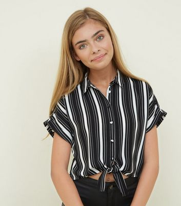 Girls Black Stripe Tie Front Shirt