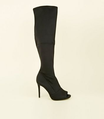 Wide Fit Black Stretch Peep Toe Sock Boots
