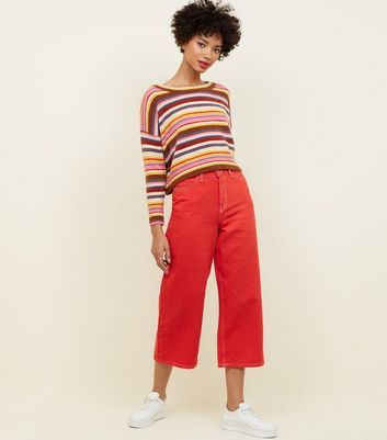 Red Contrast Stitch Wide Leg Jeans