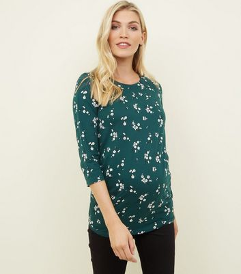 Maternity Green Floral 3/4 Sleeve T-Shirt
