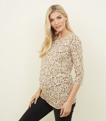 Maternity Tan Floral 3/4 Sleeve T-Shirt