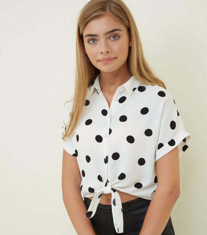 ec593f1ed8f138 Girls White Polka Dot Tie Front Shirt | New Look