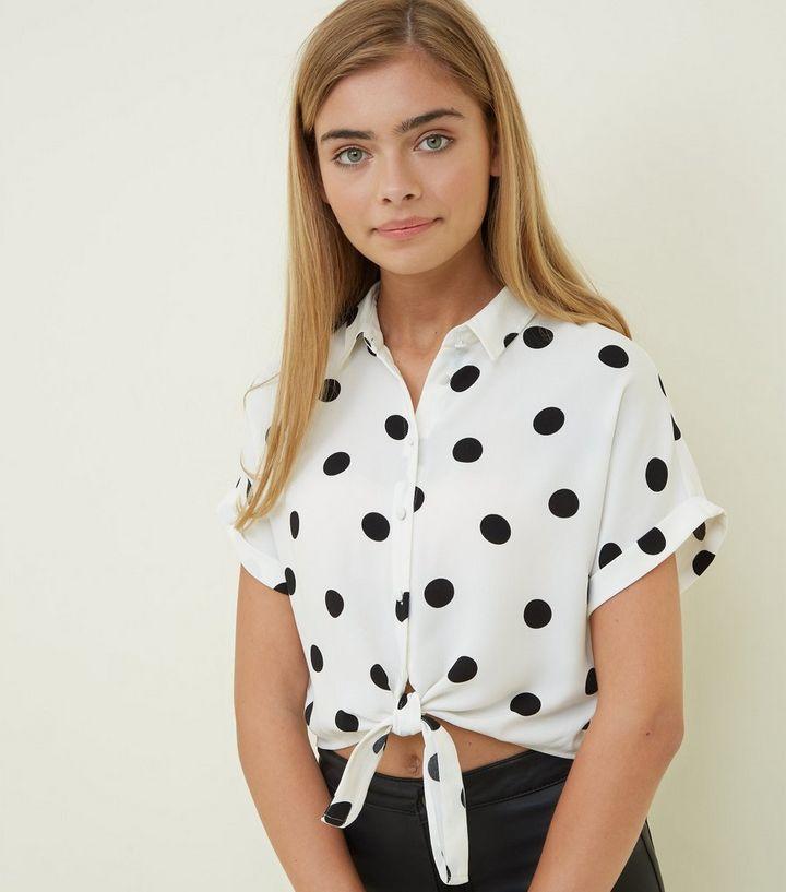 ec593f1ed8f138 Girls White Polka Dot Tie Front Shirt | New Look