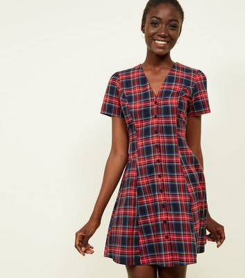 Red Tartan Check Button Through Tea Dress