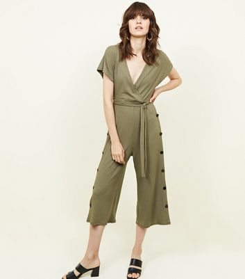 Khaki Popper Side Ribbed Wrap Front Jumpsuit