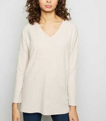 Cream Ribbed Brushed Jersey Top