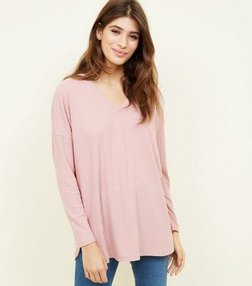 Pink  Ribbed Brushed Jersey Top