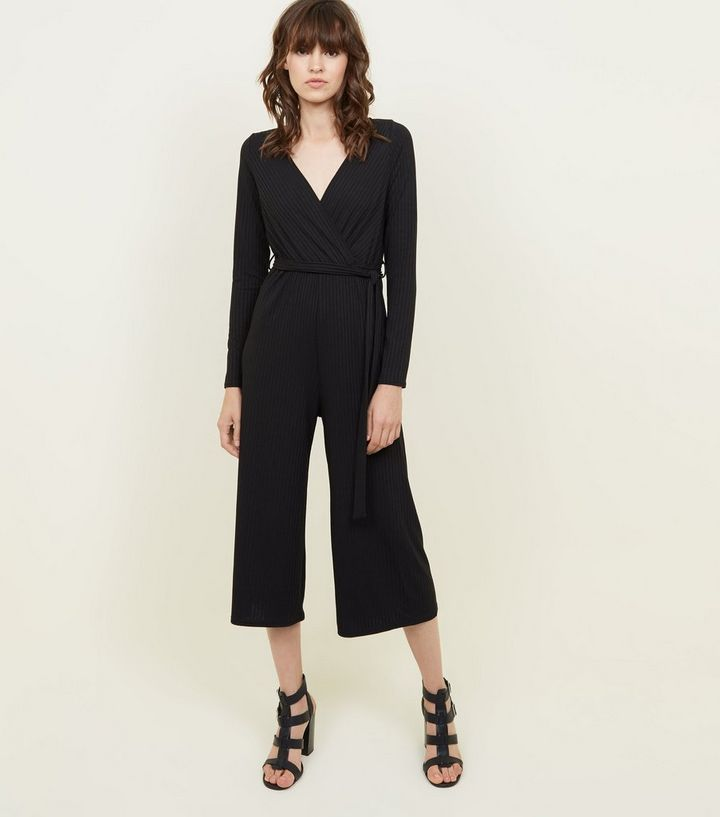 1590923e95 Black Ribbed Long Sleeve Wrap Jumpsuit