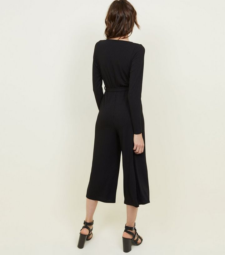 5ed19f1994 ... Black Ribbed Long Sleeve Wrap Jumpsuit. ×. ×. ×. Shop the look