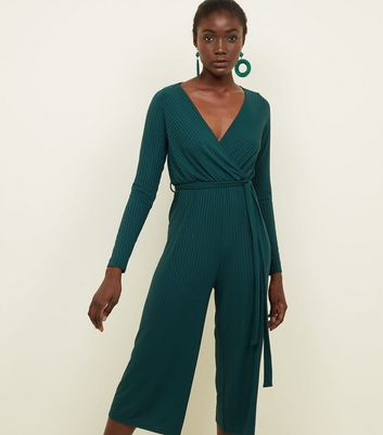 Dark Green Ribbed Long Sleeve Wrap Front Jumpsuit