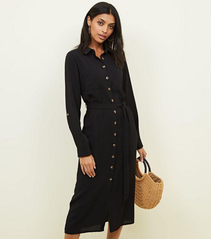 8660fdb7eda Black Button Down Midi Shirt Dress