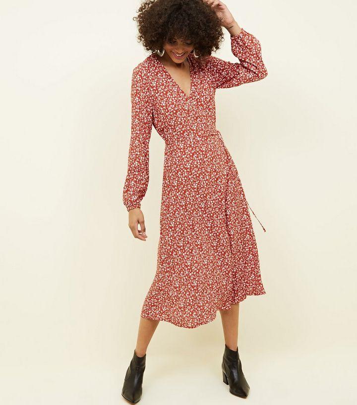 a228975701 Orange Ditsy Floral Long Sleeve Midi Wrap Dress   New Look