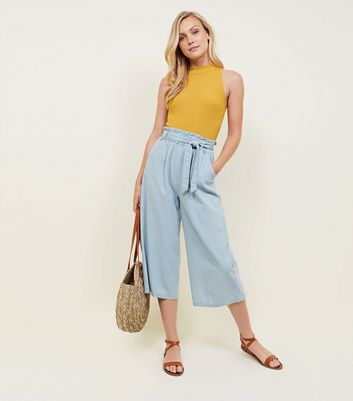 Blue Light Wash Tie Waist Denim Culottes