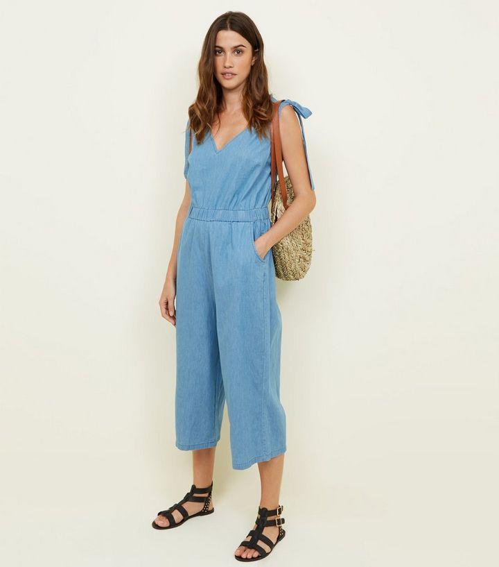 179e9274b28 Blue Tie Strap Lightweight Denim Culotte Jumpsuit