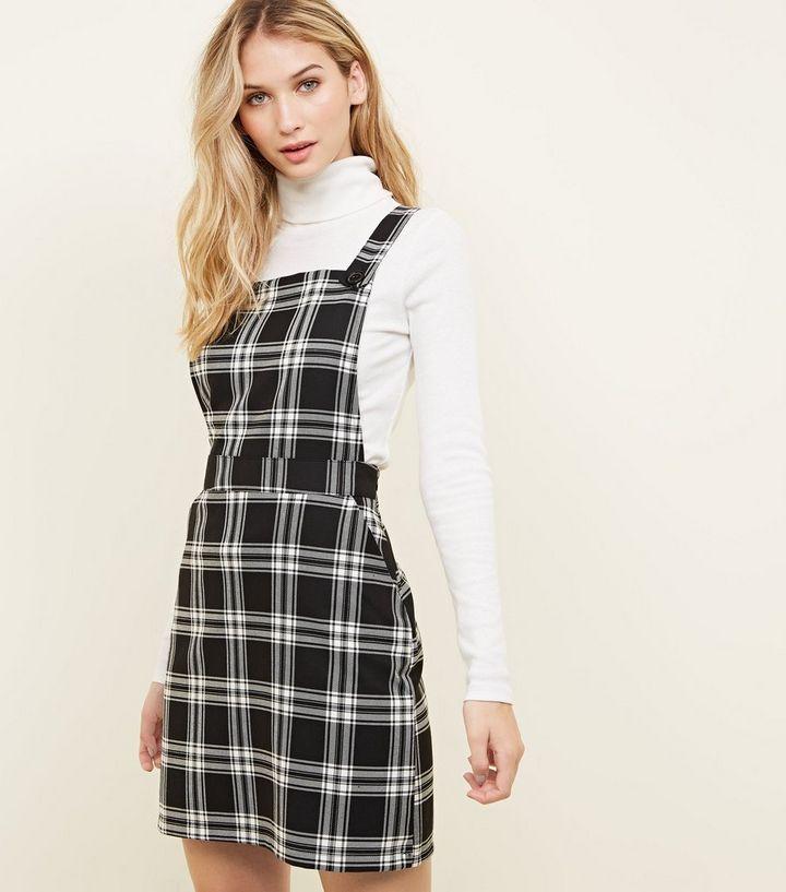 90f5cb4fa0 Black Check Button Strap Pinafore Dress