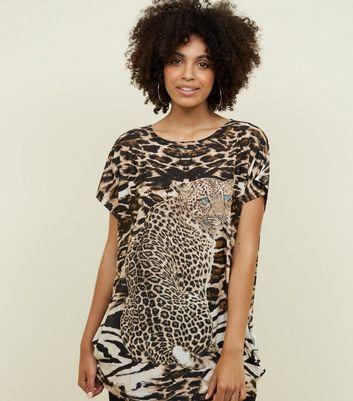 Cameo Rose Brown Leopard Gem Embellished Top New Look