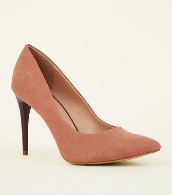 Pink Suedette Two Tone Stiletto Courts