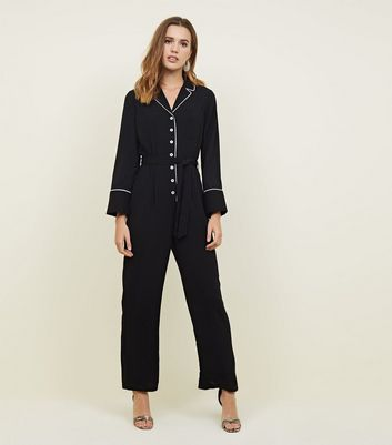 Black Contrast Piping Long Sleeve Belted Jumpsuit