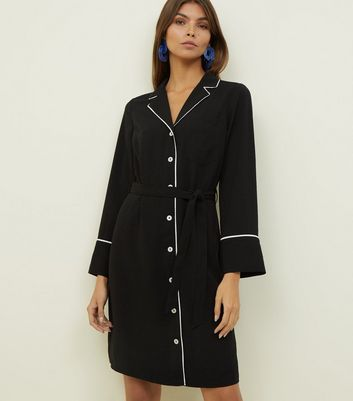 Black Piped Revere Collar Shirt Dress