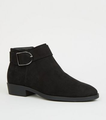 Black Suedette Buckle Side Ankle Boots by New Look