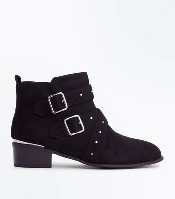 Wide Fit Black Suedette Stud Strap Ankle Boots