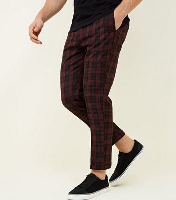 Burgundy Tartan Back Half Elasticated Waist Trousers
