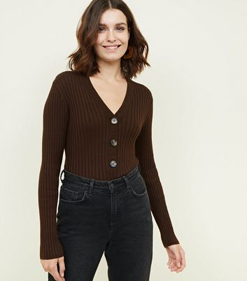 Dark Brown Ribbed Half Button Front Jumper