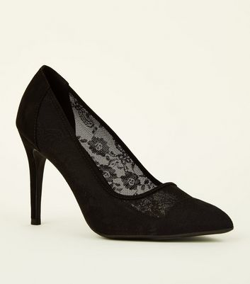 Black Lace Stiletto Heel Pointed Courts