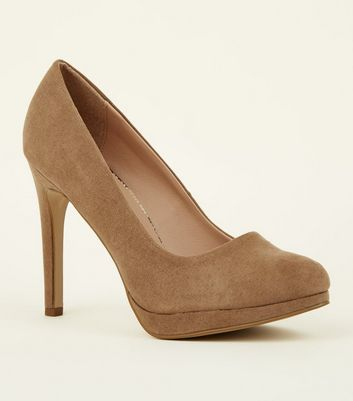Light Brown Suedette Faux Snakeskin Lined Courts