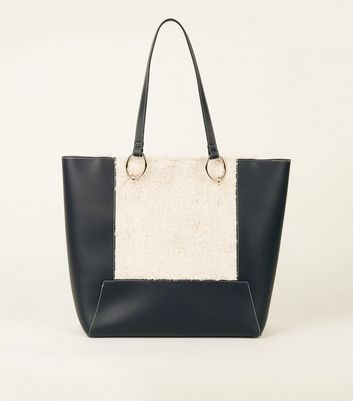 Black Contrast Stitch Faux Shearling Panel Tote