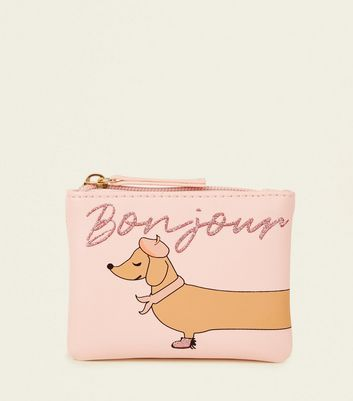 Pink Sausage Dog French Greeting Coin Purse