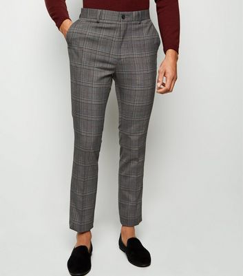 Grey and Orange Check Skinny Trousers