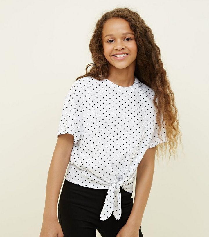 2f948a56fda25 Girls White Polka Dot Tie Front T-Shirt