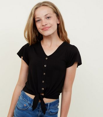 Girls Black Jersey Button Tie Front Top