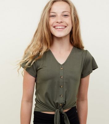 Girls Khaki Jersey Button Tie Front Top