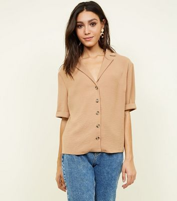Camel Herringbone Button Front Shirt