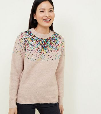 Pale Pink Sequin Crew Neck Jumper