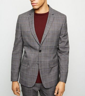Grey and Orange Check Blazer