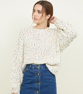 White Nep Knit Slouchy Oversized Jumper by New Look