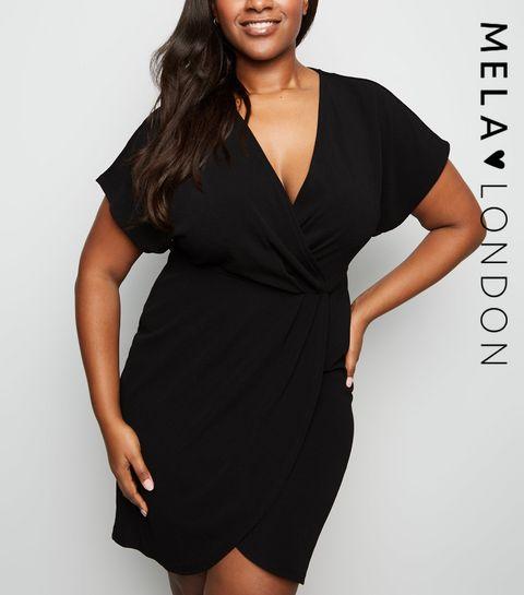 c3b8ccc82f5a40 ... Mela Curves Black Wrap Dress ...