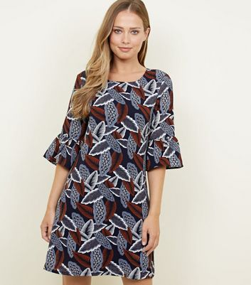 Mela Navy Leaf Print Bell Sleeve Shift Dress