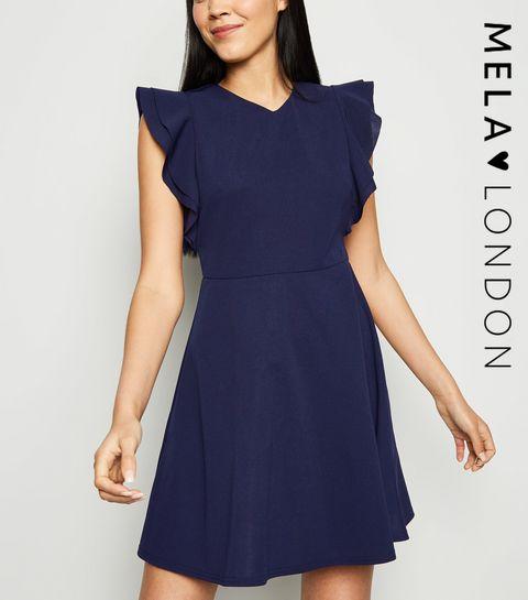 61aa07a8dc3 ... Mela Navy Frill Sleeve Dress ...