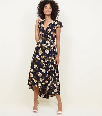 Mela Navy Floral Dip Hem Midi Dress