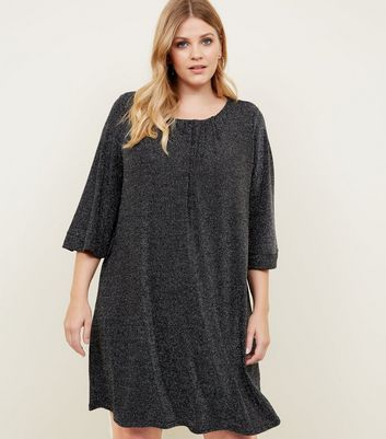 Mela Curves Black Glitter Ruched Neck Tunic Dress